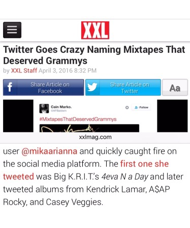My hashtag #MixtapesThatDeserveGrammys featured on XXL