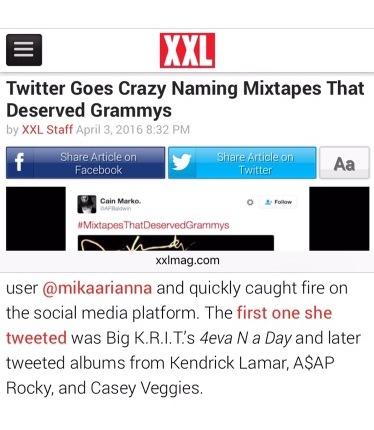 My hashtag #MixtapesThatDeserveGrammys featured on XXL